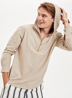 DeFacto Slim Fit Uzun Kollu Pamuklu Kapüşonlu Gömlek